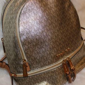 Michael Kors Metallic Signature Backpack